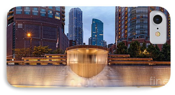 Panorama Of Centennial Fountains At Twilight Chicago River - Near North Side Chicago Illinois IPhone Case by Silvio Ligutti