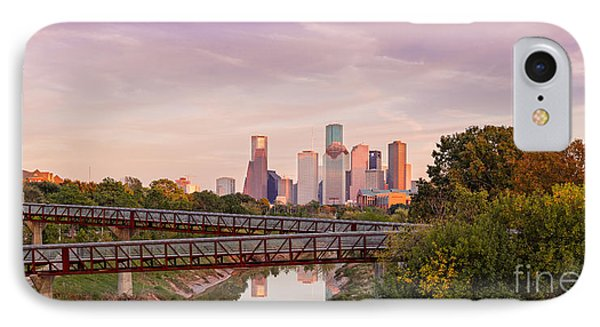Panorama Of Downtown Houston Skyline From Studemont Drive - Buffalo Bayou Park Houston Texas IPhone Case by Silvio Ligutti