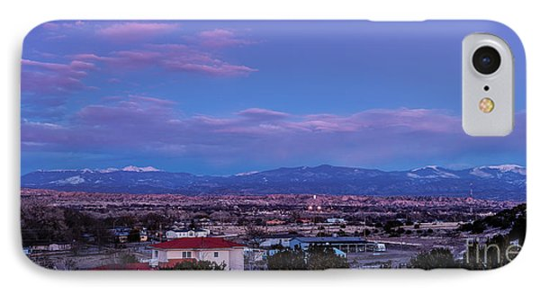 Panorama Of Espanola Valley With Sangre De Cristo Mountains During Twilight - Northern New Mexico IPhone Case