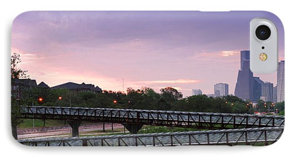 Panorama Of Rosemont Bridge Over Buffalo Bayou At Sunrise - Downtown Houston Skyline Texas IPhone Case by Silvio Ligutti