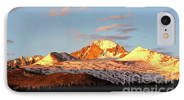 Panorama View Of Longs Peak At Sunrise IPhone Case
