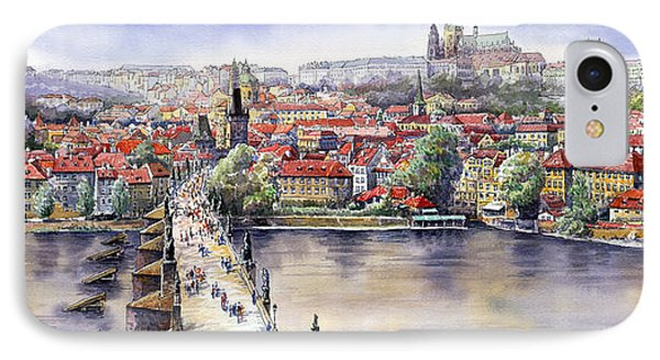 Panorama With Vltava River Charles Bridge And Prague Castle St Vit IPhone Case by Yuriy  Shevchuk
