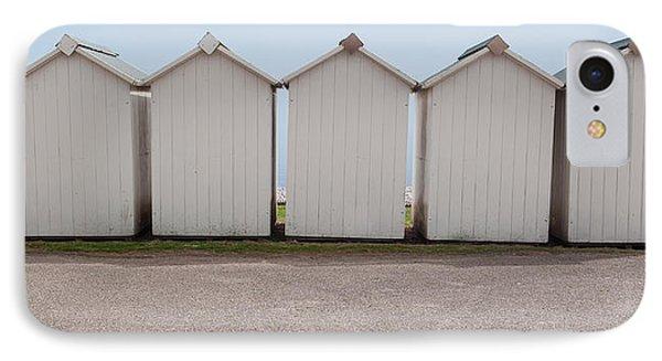 Panoramic Beach Huts IPhone Case by Helen Northcott