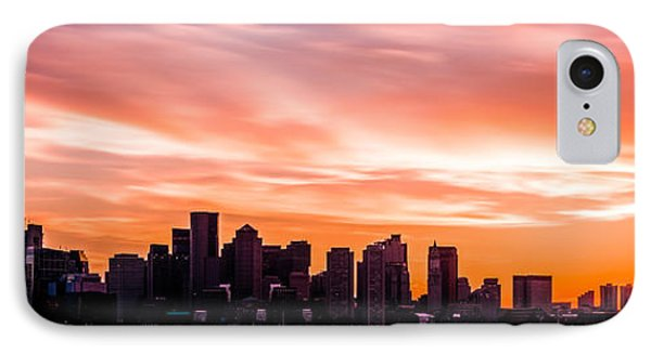 Panoramic Boston Skyline Sunset Photo IPhone Case by Paul Velgos