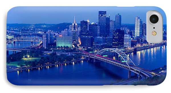 Panoramic Evening View Of Pittsburgh IPhone Case by Panoramic Images