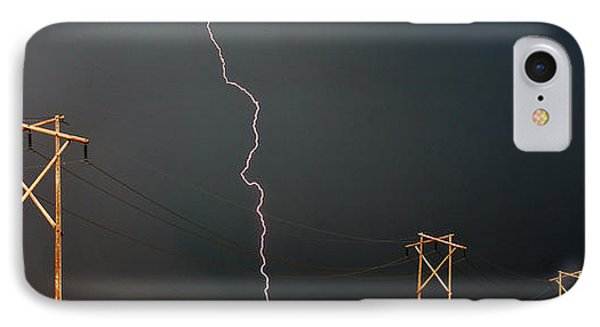 Panoramic Lightning Storm And Power Poles IPhone Case by Mark Duffy