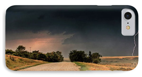 Panoramic Lightning Storm In The Prairie Phone Case by Mark Duffy