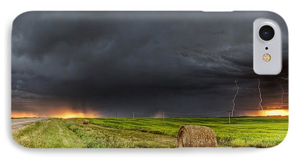 Panoramic Lightning Storm In The Prairies Phone Case by Mark Duffy