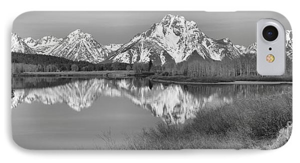 Panoramic Reflections At Oxbow Black And White IPhone Case by Adam Jewell