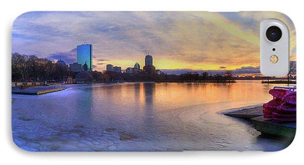 Panoramic Sunset Over The Boston Skyline IPhone Case by Joann Vitali