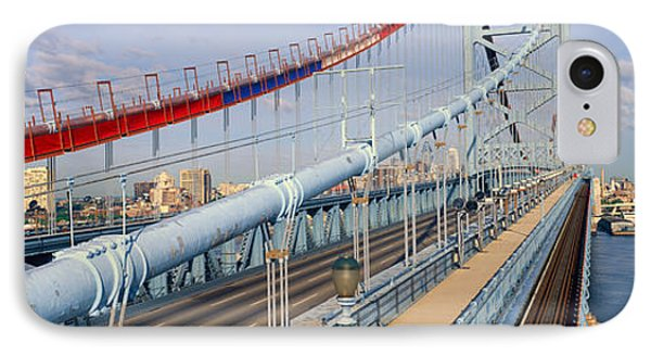 Panoramic View Of Ben Franklin Bridge IPhone Case by Panoramic Images