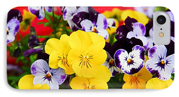 Pansies And Red Cart IPhone Case