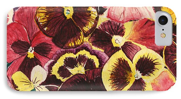 IPhone Case featuring the painting Pansies Competing For Attention by Shawna Rowe