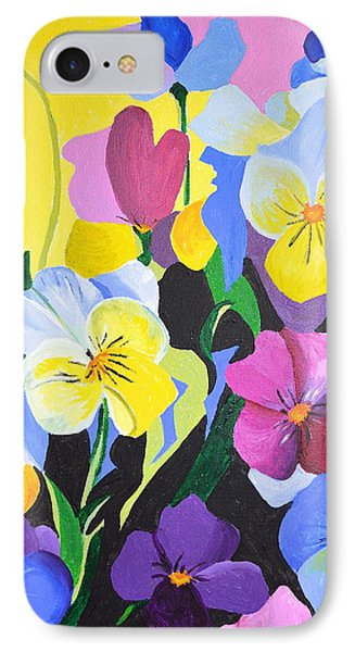 IPhone Case featuring the painting Pansies by Donna Blossom