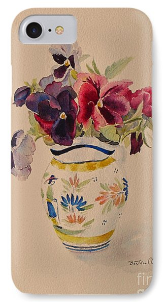 IPhone Case featuring the painting Pansies In A Quimper Pot by Beatrice Cloake
