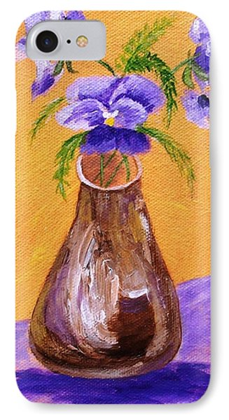 Pansies In Brown Vase IPhone Case