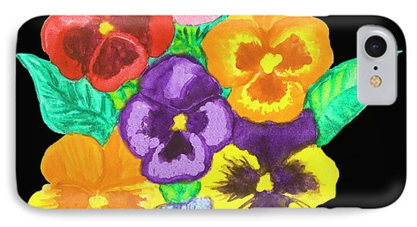 Pansies On Black IPhone Case