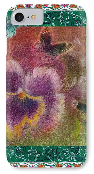 Pansy Butterfly Asianesque Border IPhone Case by Judith Cheng