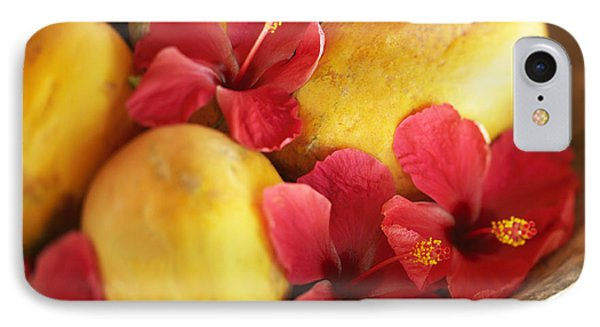 Papaya Fruit And Hibiscus Phone Case by Kyle Rothenborg - Printscapes