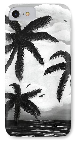 IPhone Case featuring the painting Paradise In Black And White by Teresa Wing