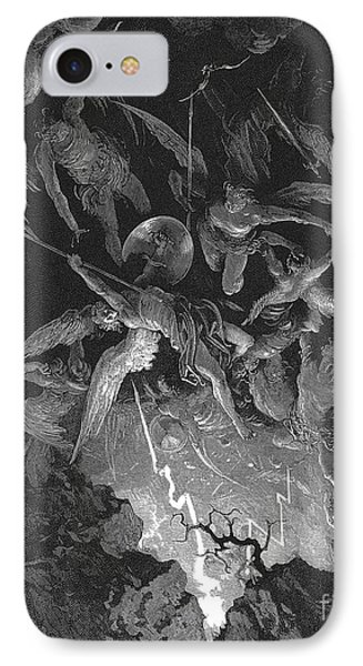 Paradise Lost  The Fall Of Man IPhone Case by Gustave Dore