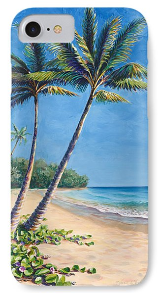 IPhone Case featuring the painting Tropical Paradise Landscape - Hawaii Beach And Palms Painting by Karen Whitworth