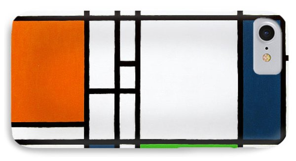 Parallel Lines Composition With Blue Green And Orange In Opposition Phone Case by Oliver Johnston