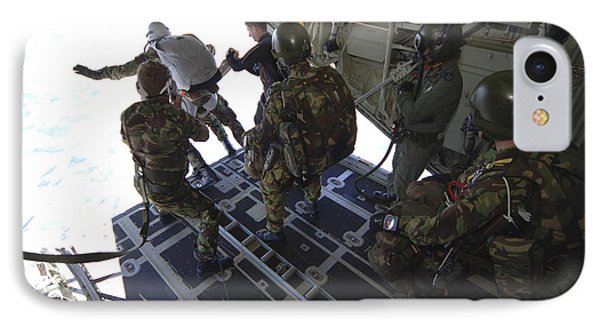 Paratroopers Jump From A C-130 Hercules Phone Case by Andrew Chittock