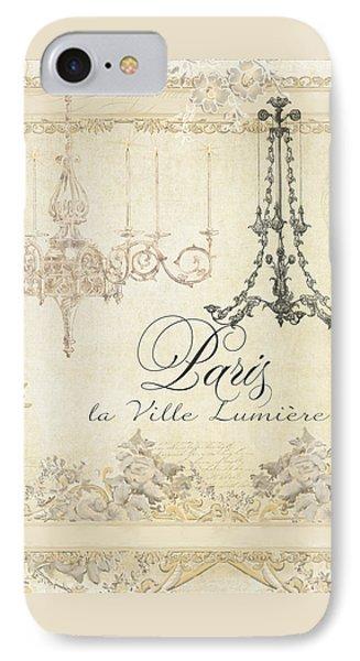 Parchment Paris - City Of Light Chandelier Candelabra Chalk IPhone Case by Audrey Jeanne Roberts