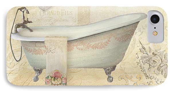 Parchment Paris - Le Bain Or The Bath Chandelier And Tub With Roses IPhone Case by Audrey Jeanne Roberts