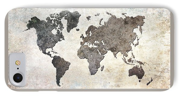 Parchment World Map IPhone Case by Douglas Pittman