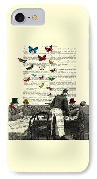 Inside Of A French Bistro At Paris And Rainbow Butterflies IPhone Case