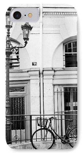 IPhone Case featuring the photograph Paris Black And White Architecture Windows Street Lanterns Bicycle Print - Paris Street Lanterns by Kathy Fornal