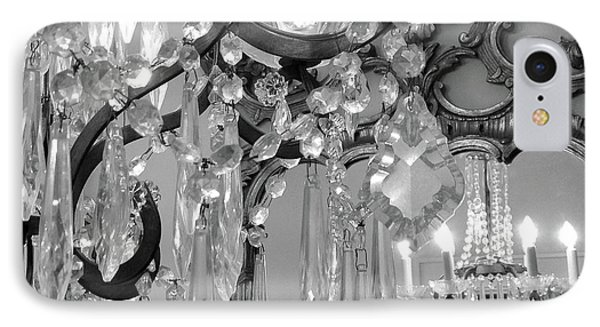IPhone Case featuring the photograph Paris Black And White Crystal Chandelier Mirrored Wall Decor -parisian Black White Chandelier Prints by Kathy Fornal