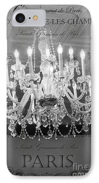 Paris Black And White Crystal Chandeliers - French Parisian Black White Crystal Chandelier Art IPhone Case by Kathy Fornal