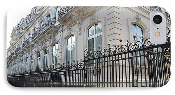 IPhone Case featuring the photograph Paris Black Iron Ornate Gate To Parc Monceau - Parisian Gates  by Kathy Fornal