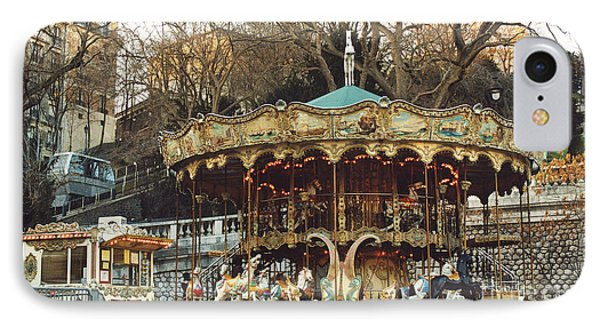Paris Carousel At Montmartre - Sacre Coeur Cathedral Carousel Merry Go Round  IPhone Case