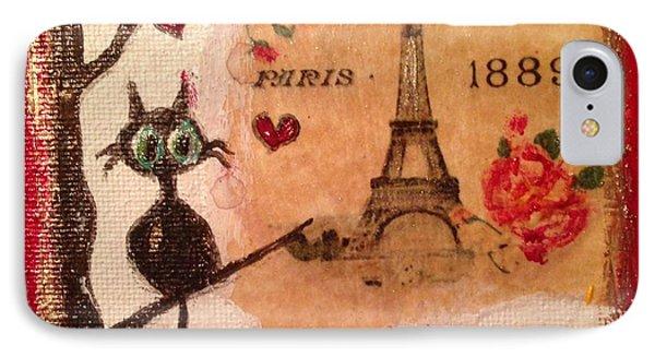 Paris Cat  IPhone 7 Case by Roxy Rich