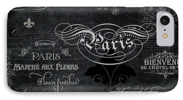 IPhone Case featuring the painting Paris Chalkboard Typography 1 by Audrey Jeanne Roberts