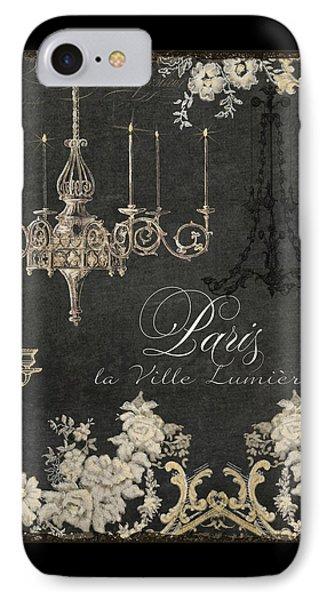 Paris - City Of Light Chandelier Candelabra Chalk IPhone Case by Audrey Jeanne Roberts