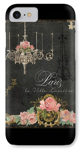Paris - City Of Light Chandelier Candelabra Chalk Roses IPhone Case by Audrey Jeanne Roberts