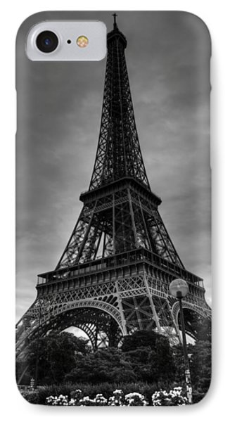 IPhone Case featuring the photograph Paris - Eiffel Tower 004 Bw by Lance Vaughn