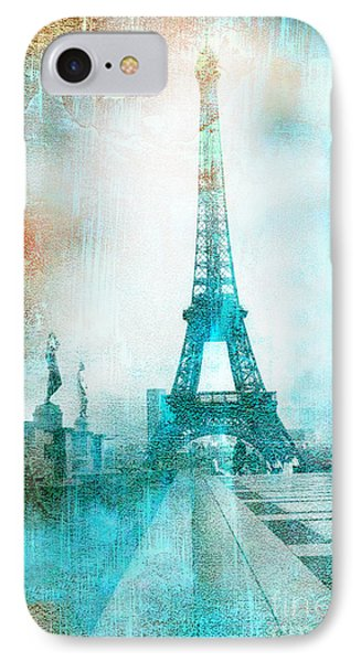 Paris Eiffel Tower Aqua Impressionistic Abstract IPhone Case by Kathy Fornal