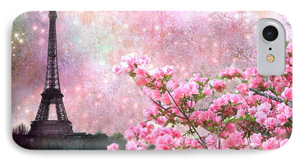 Paris Eiffel Tower Cherry Blossoms - Paris Spring Eiffel Tower Pink Blossoms  IPhone Case by Kathy Fornal