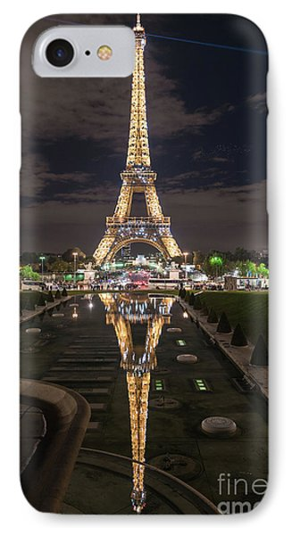 Paris Eiffel Tower Dazzling At Night IPhone 7 Case by Mike Reid
