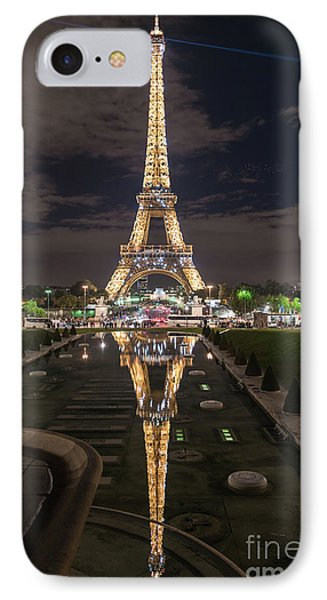 Paris Eiffel Tower Dazzling At Night IPhone Case by Mike Reid