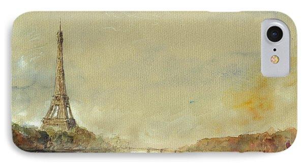 Paris Eiffel Tower Painting IPhone 7 Case by Juan  Bosco