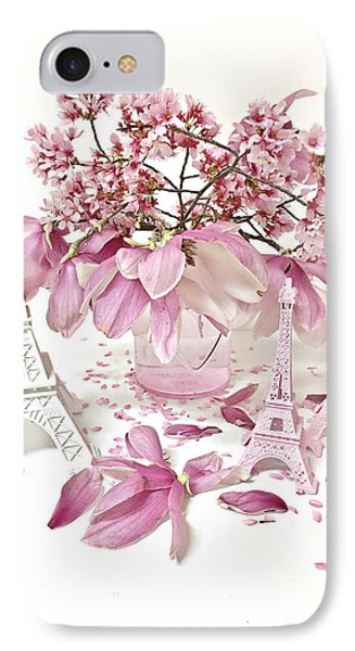 IPhone Case featuring the photograph Paris Eiffel Tower Spring Magnolia Flower Blossoms - Paris Pink White Spring Blossoms  by Kathy Fornal