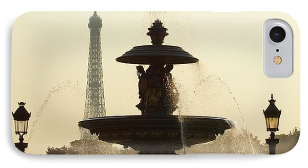 Paris Fountain In Sepia IPhone Case