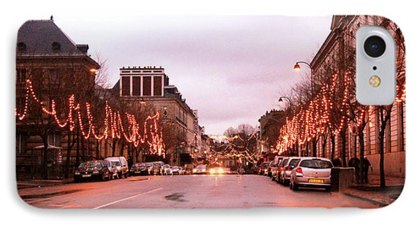 Paris Holiday Christmas Street Scene - Christmas In Paris IPhone Case